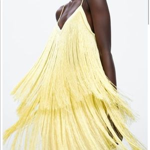 Zara Yellow Fringe Mini Dress